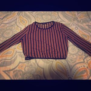 Striped, long-sleeved cropped shirt